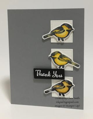 Petal Palette Yellow Bird Trio card by Chris Smith at inkpad.typepad.com