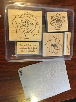 Stampin' Up! Retired Fifth Avenue Floral stamp set PLUS Manhatten Flower Embossing folder; retired