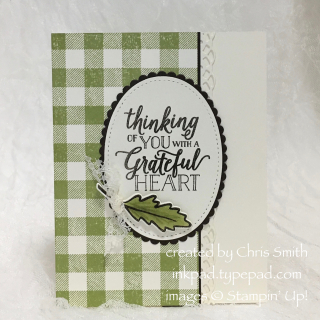Stampin Up Falling for Leaves buffalo check oval by Chris Smith at inkpad.typepad.com