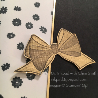 Wishing You well close up gold bow