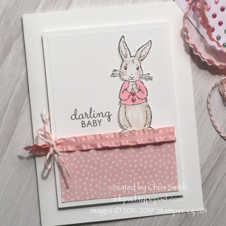 Stampin Up Fable Friends baby girl card from inkpad.typepad.com