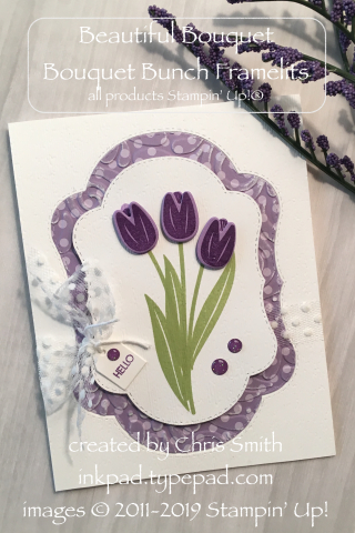 Stampin' up purple tulip card with Beautiful Bouquet at inkpad.typepad.com