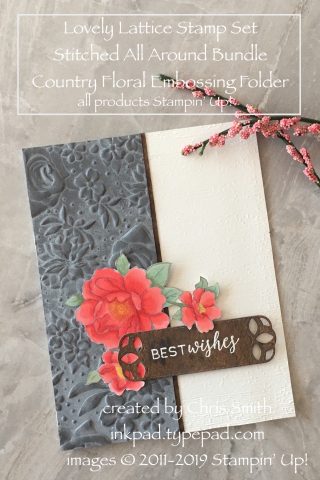 Stampin' Up! Country FLoral with Lovely Lattice wedding card by Chris Smith at inkpad.typepad.com