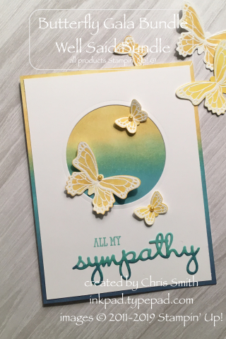 Stampin Up! BUtterfly Gala Well Said Sympathy card. More about this at inkpad.typepad.com