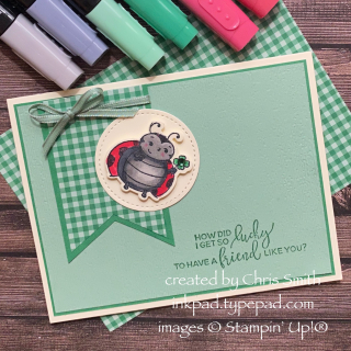 Little Ladybug Shamrock card by Chris Smith at inkpad.typepad.com