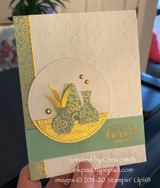 Stampin' Up! Vibrant Vases with Ornate Garden  card by Chris Smith hand held view