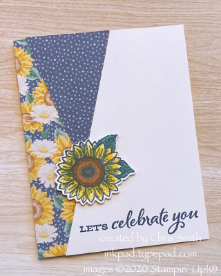 Celebrate Sunflowers card with Stitched Triangles by Chris Smith at inkpad.typepad.com