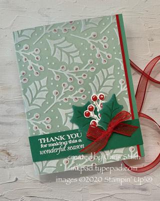 Plush Poinsettia Petals card with ribbon view at inkpad.typepad.com