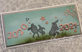 CC824 Darling Donkeys shiny new year card by Chris Smith at inkpad.typepad.com