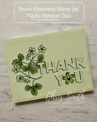 Sweet Strawberry Playful Alphabet Die Thank you card by Chris Smith at inkpad.typepad.com