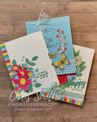 CC833 Trio Stampin Up cards with In bloom GOft of Hope and Ornate Style by Chris Smith
