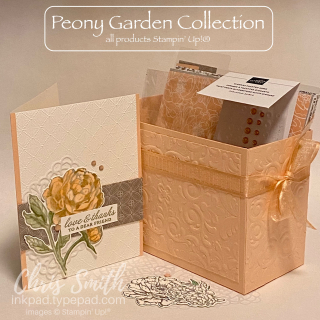 Prized Peony STAMPIN UP CARD with PARISIAN FLOURISHES BOX