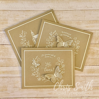 Gift of Hope  Butterfly Gala Stampin Up card trio by Chris Smith  Easter  sympathy confirmation