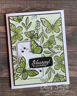 Seafoam Floating and Fluttering Many messages Stampin Up Card