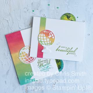 Beautiful World card duo by Chris Smith at inkpad.typepad.com