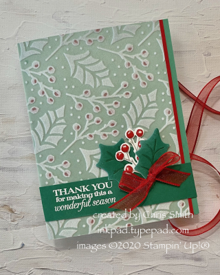 Plush Poinsettia Petals card with ribbon view at inkpad.typepad.com