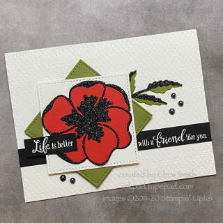 PCC395 Peaceful Moments Poppy with glitter card by Chris Smith at inkpad.typepad.com