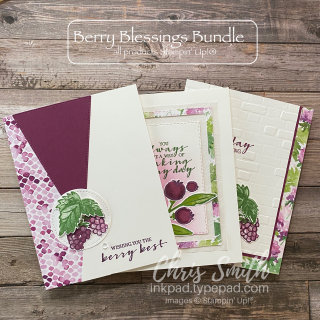 Trio of Berry Blessings stampin up cards by Chris Smith