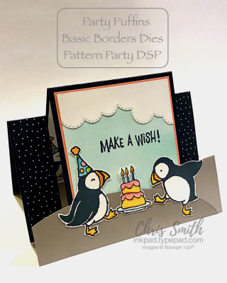 Labeled party Puffins basic Borders Dies handmade stampin Up card