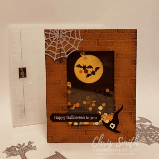 On white Frightfully Cute Bundle Stampin Up Halloween Shaker Card by Chris Smith at inkpad.typepad.com