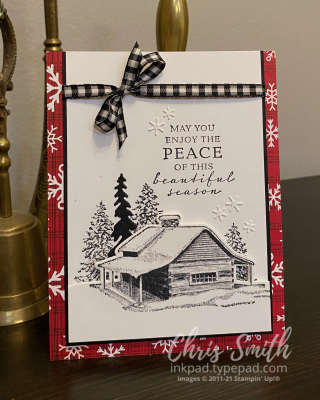 Peaceful Cabin handmade stampin up card with mixed suites