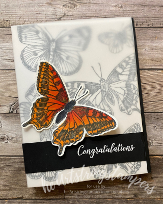 Butterfly Brilliance Bijou stamping up Monarch card for heartstringstampers