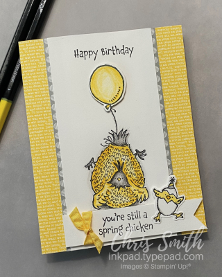 Hey Birthday Chick Stampin' Up! card balloon by Chris Smith