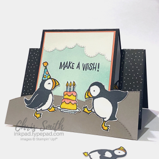 Puffins Birthday Party Card by Chris Smith at inkpad.typepd.com