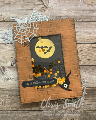 Frightfully Cute Bundle Stampin Up Halloween Shaker Card by Chris Smith at inkpad.typepad.com