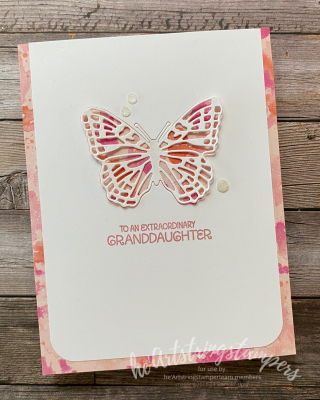 Grandaughter Butterfly Brilliance bijou stampin' Up card for he'artstringstampers