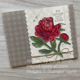 Prized Peony Stampin Up Symapthy card